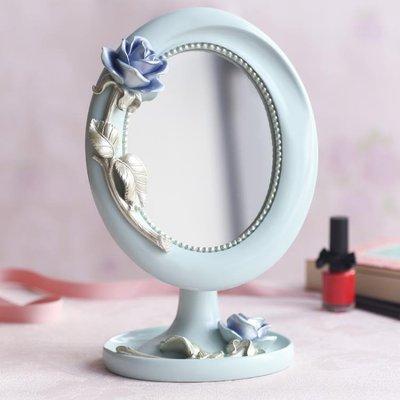 歐式單面創意化妝鏡時尚樹脂台式桌面鏡子YSY