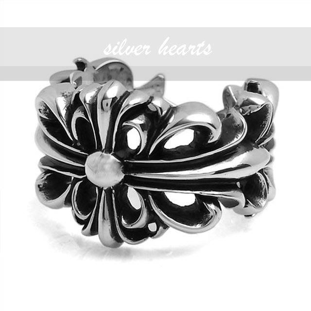 【SILVER HEARTS】Goro's Chrome Hearts 克羅心Floral cross 純銀戒指 指環