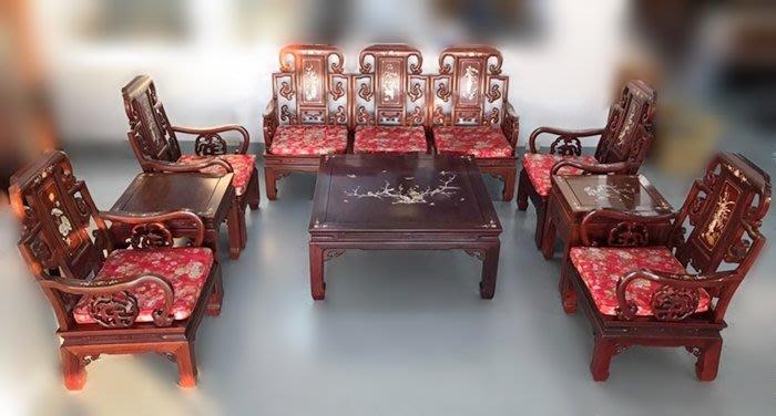 【宏品二手家具館】RW42907*花梨木8件式組椅*全新中古傢俱家電 2手桌椅 原木家具 木頭沙發 仿古傢具 雕刻藝品