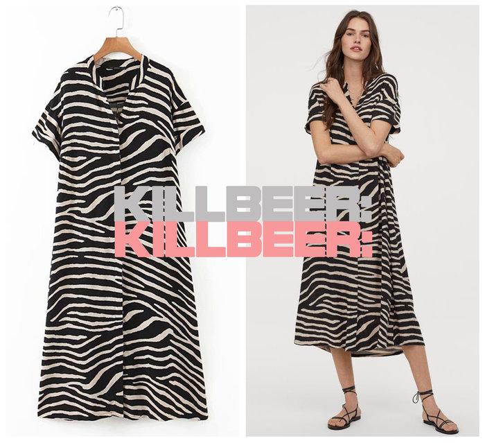 KillBeer:漂丿的都市名媛之 歐美復古搖滾率性飄逸普普風動物紋斑馬紋撞色垂墜感長版襯衫式連身裙長洋裝A080410
