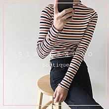 Sis KOREA style 簡約韓國chic AA風歐美 簡約清新學院風 韓劇文藝條紋彈性 棉T 條紋T恤