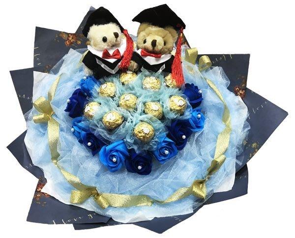 娃娃屋樂園~畢業對熊.10顆金莎+11朵香皂花 每束1350元/花束商品/畢業花束