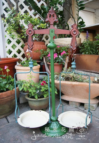 天平秤花架--秘密花園--南法鄉村風鑄鐵天枰花雙秤/花架/天平秤