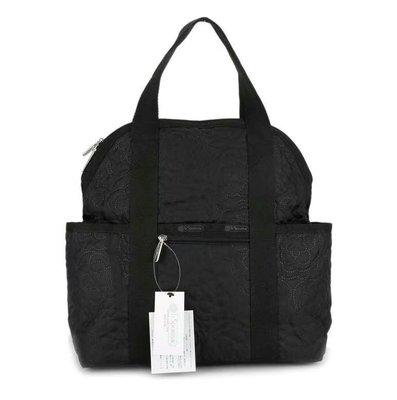 【Lydia代購】 LeSportsac 2442 黑底壓花 手提/雙肩後背包 輕量 多夾層 大容量 背面可插行李箱 降