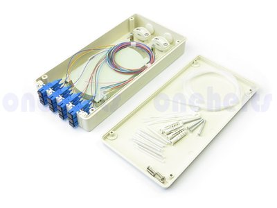 免等待 ABS 12口塑鋼壁掛式光纖終端盒 全配 可以搭配SC FC LC耦合器及豬尾巴 12路終端盒 末端盒 光纖盒