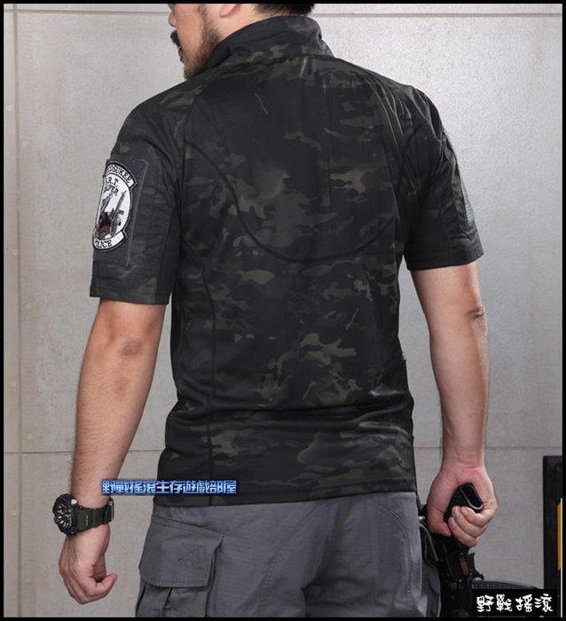 【野戰搖滾-生存遊戲】魔蠍迷彩青蛙短袖T恤、上衣【Multicam Black】暗夜迷彩T恤黑色多地形迷彩服立領戰術上衣
