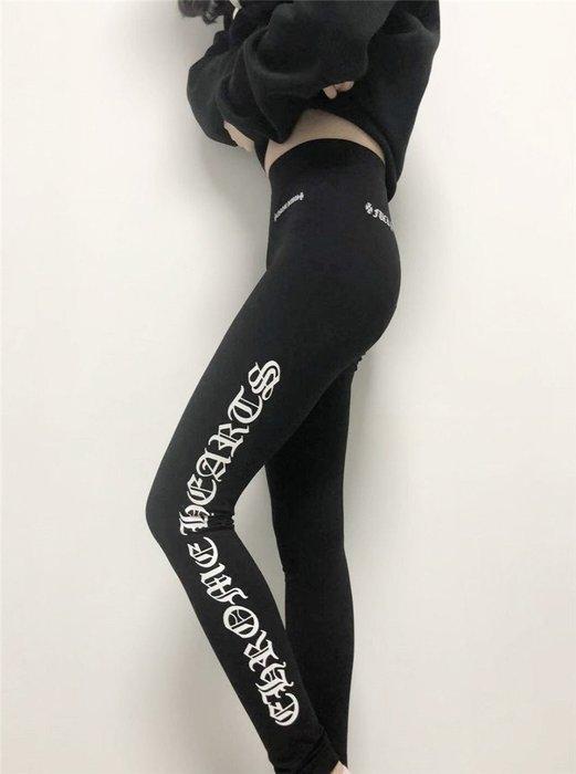 美國chrome heart潮牌潮流側腿印字圖案黑色美女裝長褲緊身褲子legging 打底褲