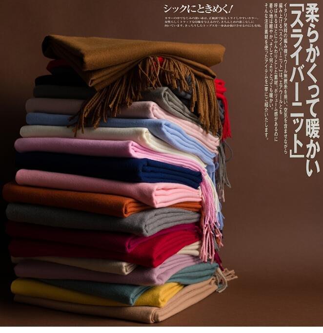 日本圍巾 羊絨薄款親膚細柔輕薄素色圍巾 保暖披肩 日本圍巾 羊毛圍巾 純色圍巾 素色圍巾 20色