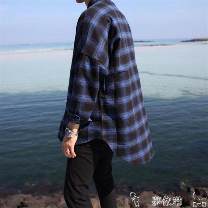長袖襯衫港風日繫夏秋新款潮男士時尚韓范寬鬆格子長袖襯衫青少年襯衣外套