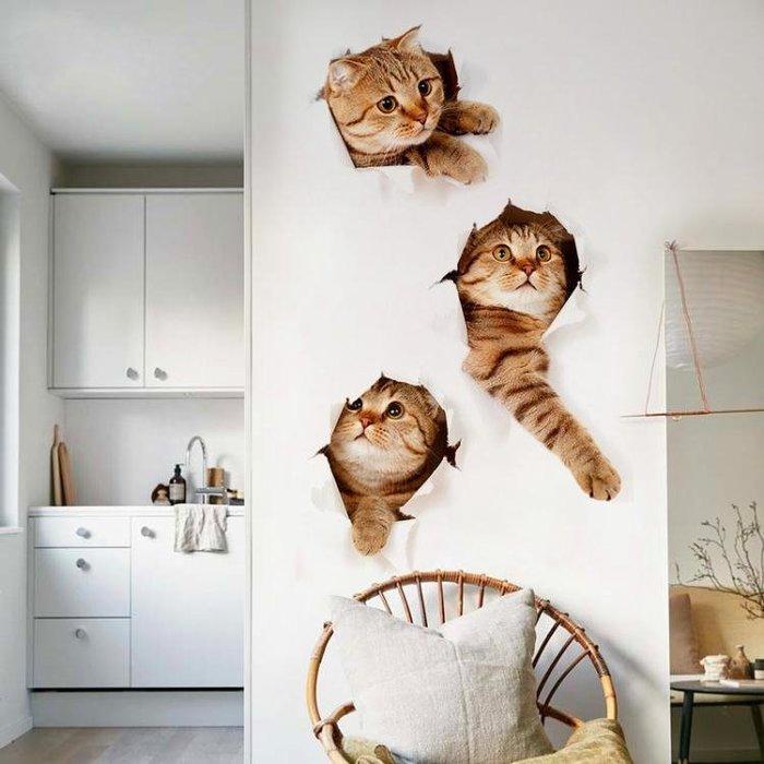 3D立體仿真動物墻貼畫北歐風臥室小貓貼紙裝飾客廳寵物店創意墻畫WY