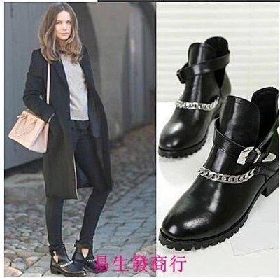 【易生發商行】來自星星的妳千頌伊同款 秋款女單靴歐美真皮馬丁靴女靴英倫低跟F6246