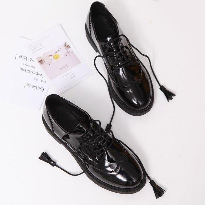 2018新款英倫風小皮鞋女平底學生學院風女鞋zipper鞋軟妹chic單鞋