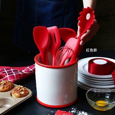 烘焙工具套裝 一體式奶油刮刀油刷攪拌勺漏勺打蛋器(紅色款/黑色款)_☆優購好SoGood☆