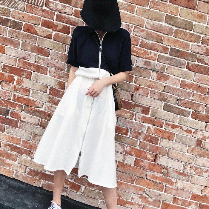 100%Boutique時髦休閒POLO領拉鍊設計撞色顯瘦連身洋裝