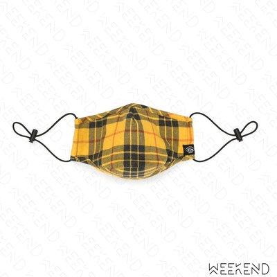 【WEEKEND】 MOSTLT HEARD RARELY SEEN MHRS 格紋 可調式束帶 口罩 黃色