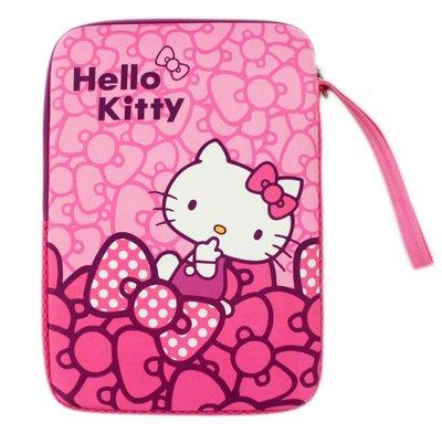【卡漫迷】 Hello Kitty 10.1吋 筆記型電腦 保護袋 直式 ㊣版 平板 手提袋 筆電 避震 彈膠型 防護袋