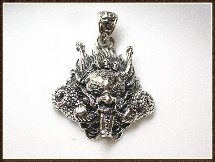 【雅之賞|藏傳|佛教文物】*特賣* 925純銀 復古款 瑪哈嘎拉吊墜~Q1257