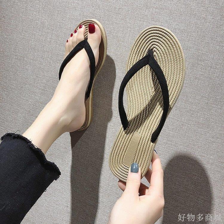 好物多商城 新款人字拖豹紋涼拖鞋女士夏時尚外穿平底夾腳沙灘鞋海邊百搭