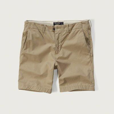 美國百分百【Abercrombie & Fitch】褲子 AF 短褲 休閒褲 麋鹿 男褲 7吋 卡其色 多尺碼 G618