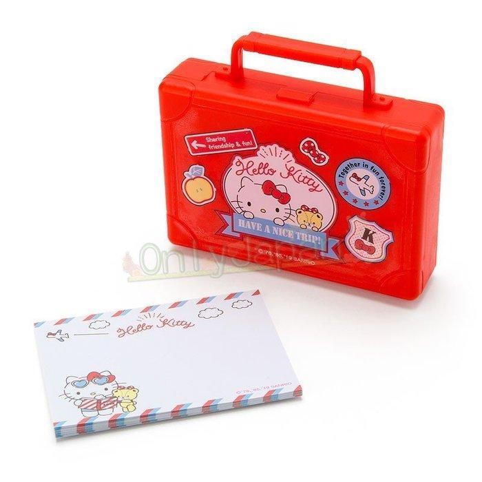 【唯愛日本】4901610456903 備忘錄附盒-KT行李箱紅AFC 凱蒂貓kitty 小物收納盒 便條紙 備忘錄