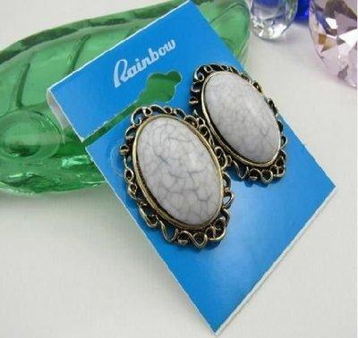 【飾界美~殺很大】歐美品牌 rainbow 高質感復古石紋造形針式耳環~僅此一付現貨一元起標