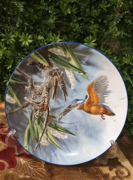 【卡卡頌  歐洲古董】WEDGWOOD 緯緻活  英國(老件未用) 藝術家 簽名 翠鳥 裝飾盤  p1743 ✬