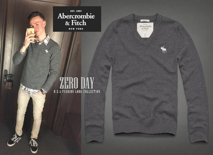 A&F Abercrombie&Fitch Morgan Mountain Sweater麋鹿logo百搭V領羊毛衣-灰