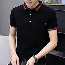【英爵倫】夏季男裝短袖丅T恤韓版簡約純色POLO衫帶有口袋襯衫領半袖上衣服