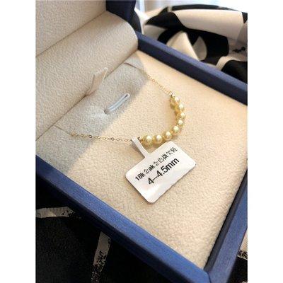 《巴黎拜金女》Akoya海水珍珠18k金微笑笑臉項鍊鎖骨鏈