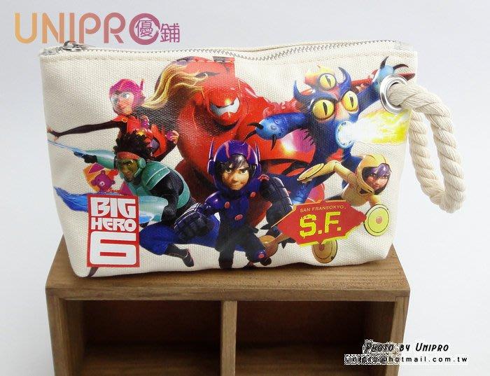 【UNIPRO】迪士尼 大英雄天團 Big Hero 6 杯麵 Hiro 帆布 手提 化妝包 筆袋 萬用包 正版授權
