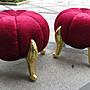 奢華風格/ / / 凡賽斯 絨布鍍金色虎腳雕刻椅 南...