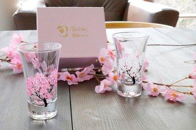 丸モ高木陶器 冷感櫻 天開玻璃杯對杯套組 冷感桜 グラス天開 ペアセット