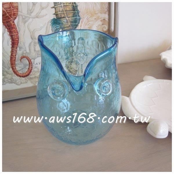 貓頭鷹造型玻璃罐/藍