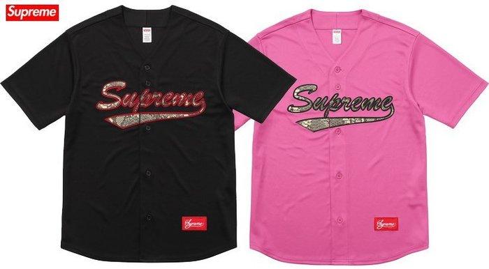 【超搶手】全新正品 2017 Supreme Snake Script Logo Baseball Jersey蛇紋球衣