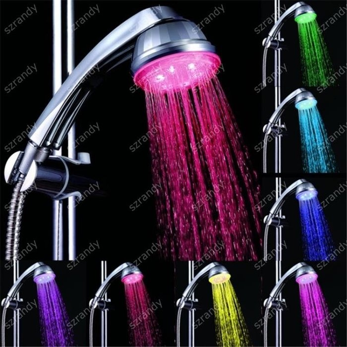 光療花灑 LED七彩光療花灑 節水 水流發電養生噴頭美膚護膚  99免運