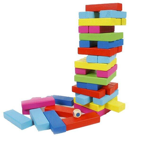 比優 48塊疊疊樂抽抽樂 層層疊積木成人益智智力玩具 彩色疊疊高益智動手動腦玩具幫助寶寶開發智力