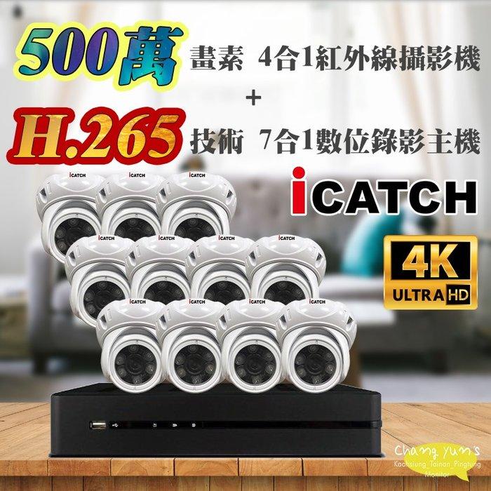 高雄/台南/屏東監視器 可取 套餐 H.265 16路主機 監視器主機+500萬400萬畫素 半球型紅外線攝影機*11