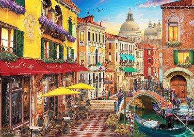 歐洲拼圖 PER.繪畫風景 DAVID MACLEAN  義大利威尼斯 咖啡屋 歐洲街道 1500片拼圖,4553