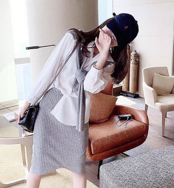 Modem Girl♥100%實拍 敲碗款!超值 氣質甜心假兩件上衣+針織彈力裙 兩件組 2色