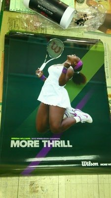 總統網球( 自取可刷國旅卡) SERENA WILLIAMS 小威 2012 溫網 冠軍海報 (小威 迷請把握機會)