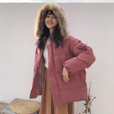 [Margot]冬季韓版BF風寬松加厚保暖面包服棉衣學生毛領連帽休閑棉服外套女
