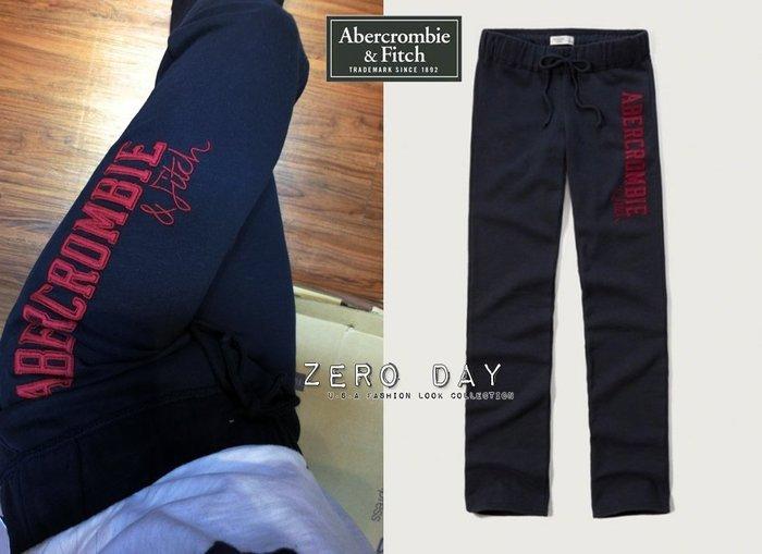 【零時差美國時尚網】A&F Abercrombie&Fitch SKINNY SWEATPANTS字母貼布運動長棉褲深藍