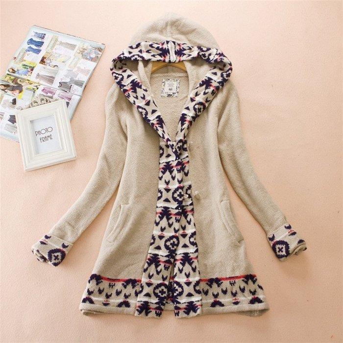 杏米色針織連帽幾何緹花拼拉毛衣可愛長版外套風衣大衣毛長夾克開襟衫