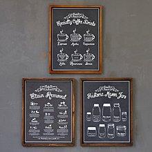 美式鄉村複古懷舊手繪黑板報塗鴉咖啡實木裝飾畫西餐廳咖啡廳掛畫(三款可選)