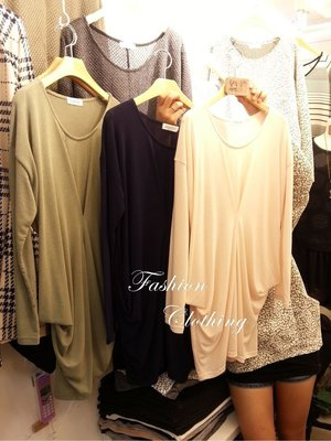°☆~衣著紡~☆° 韓㊣  A104391針織棉造型長板長袖上衣(膚色)