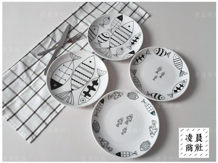 凌晨商社 //西式 日式zakka 烘焙 小魚 手繪  八吋陶瓷盤 西餐盤 點心盤 牛排盤 水果盤