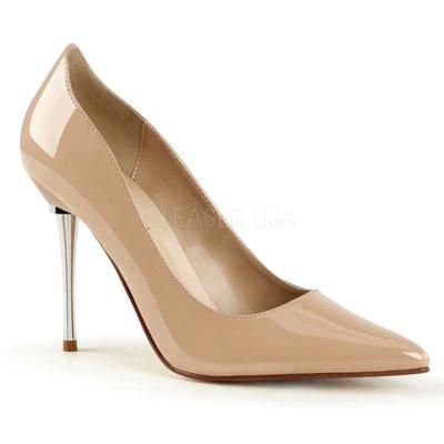 Shoes InStyle《四吋》美國品牌 PLEASER 原廠正品漆皮基本款尖頭金屬鍍鉻高跟包鞋有大尺碼出清『裸駝色』