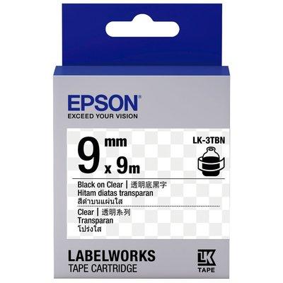 ~OA補給站~含稅EPSON LK~3TBN S653408 標籤帶 透明系列~透明底黑字9mm