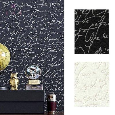 【夏法羅 窗藝】日本進口 時尚現代感 英文草寫字體圖案 壁紙 CF_085476~477