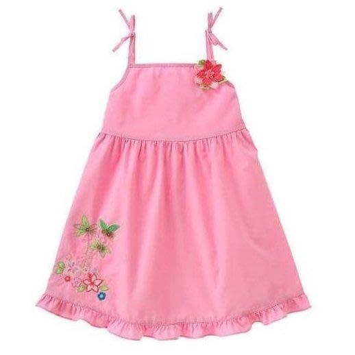 Gymboree 女童粉色南洋風細肩帶荷葉邊洋裝 3-6M,12-18M,18-24M,2T【L3】